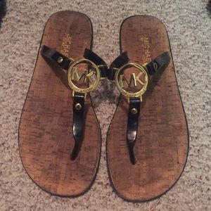 Black gold and cork Michael Kors sandals